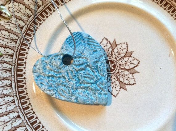 Teal Blue with Pearlized Dry Brush Heart Ceramic by RoyalDescent, $15.00