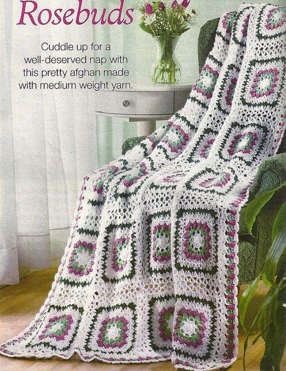 Rosebud Lacy Afghan Crochet Pattern Throw Blanket By Patternmania3