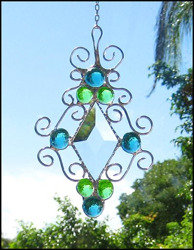 Beveled Aqua and Green Glass Nugget Filigree Stained Glass ...