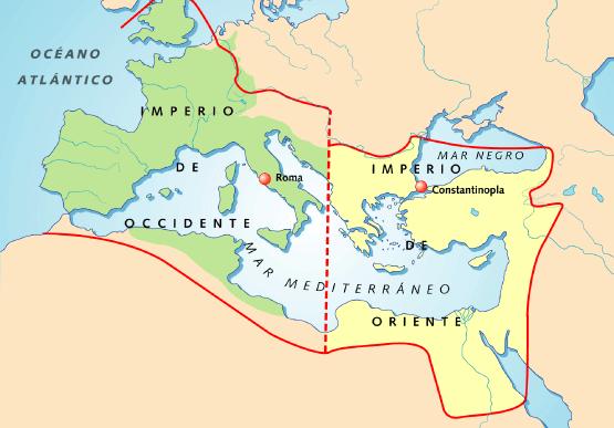 Mapa Imperio Romano Mudo.La Division Del Imperio Oriente Y Occidente Mapa Del