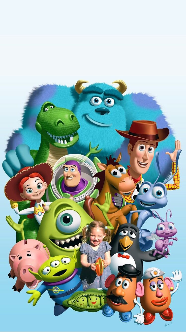 Pixar characters (sorry about the girl in the center