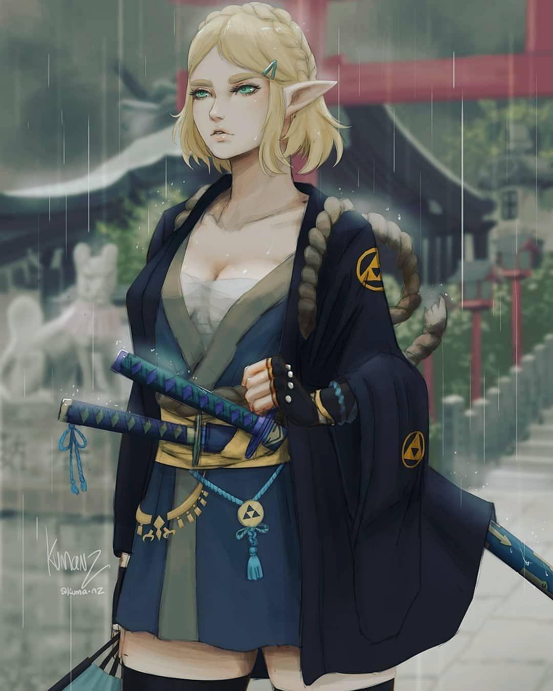 Legend Of Zelda Breath Of The Wild Sequel Inspired Concept Art Samurai Princess Zelda Botw 2 Kuma Nz Breath Of The Wild Legend Of Zelda Breath Zelda Art