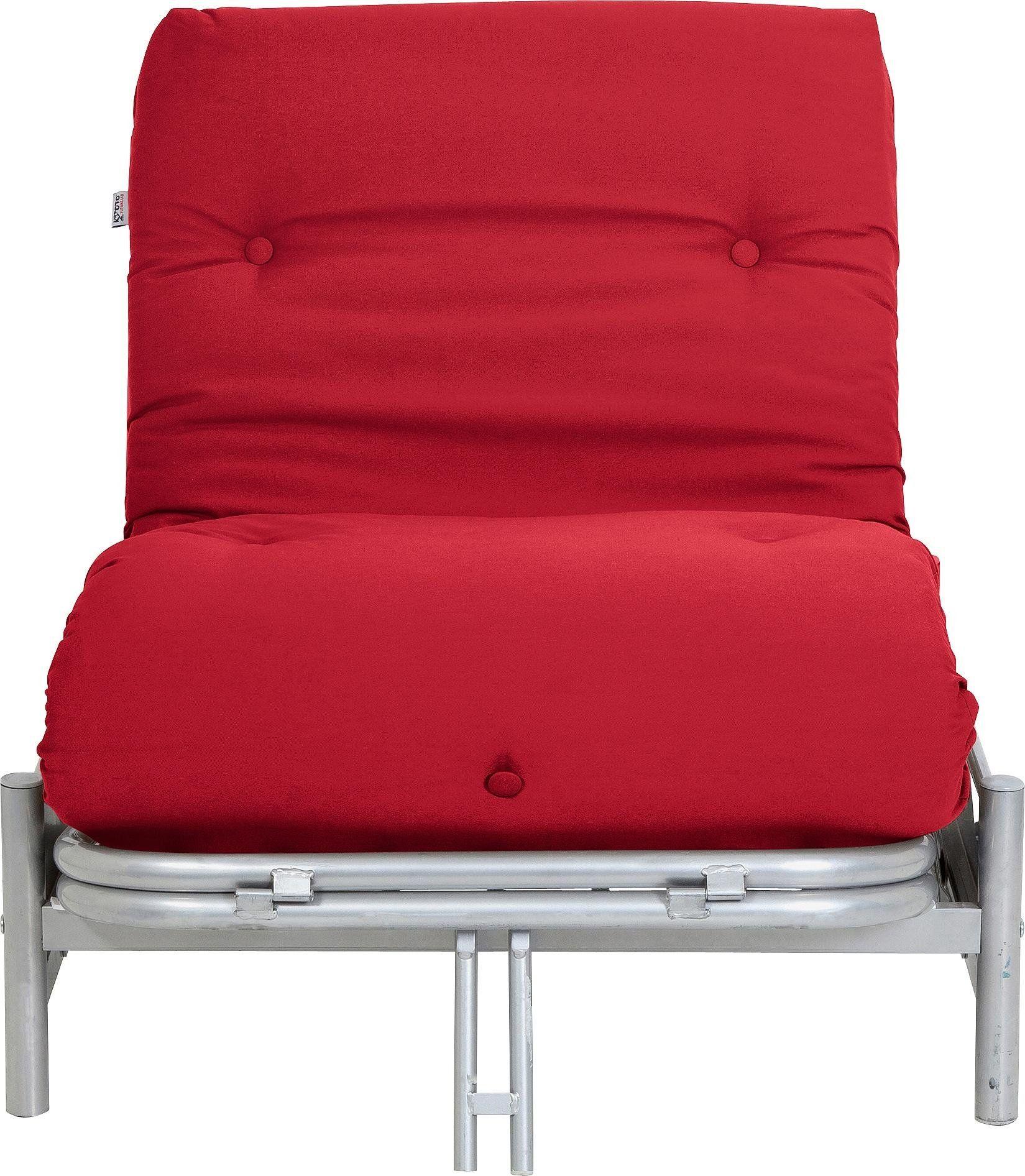 Argos Home Single Futon Metal Sofa Bed with Mattress Red