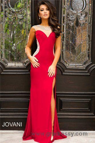 Jovani 99085 Long Red Beaded Slit Prom Dresses On Sale   prom ...