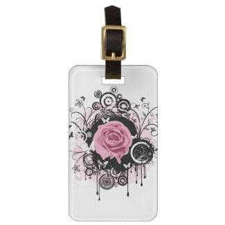 Grunge Rose Tag For Luggage