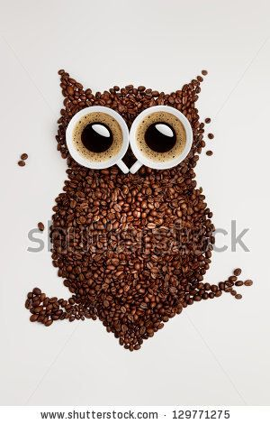Easy way to the nightlife. A funny owl, made of coffee seeds and two caps on grey background. by Dmitry Fischer, via ShutterStock