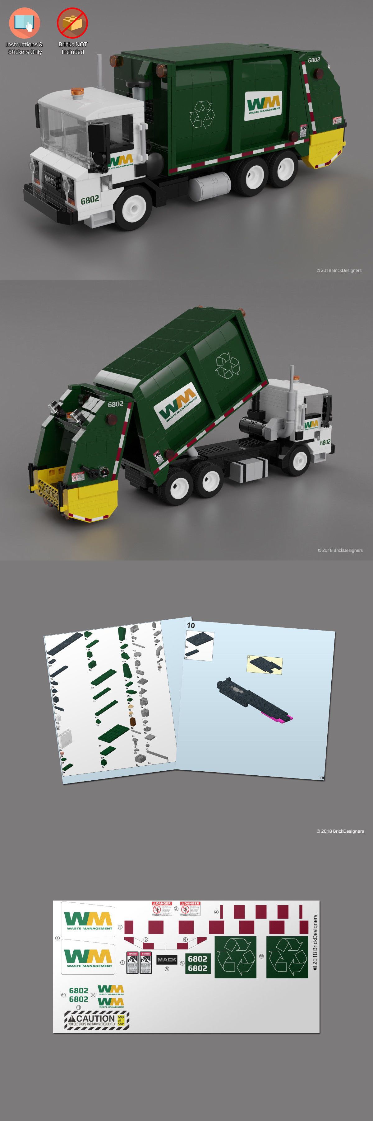 Details About Instructions Stickers Only Custom Lego Garbage Truck Lego Lego Design Lego Fire