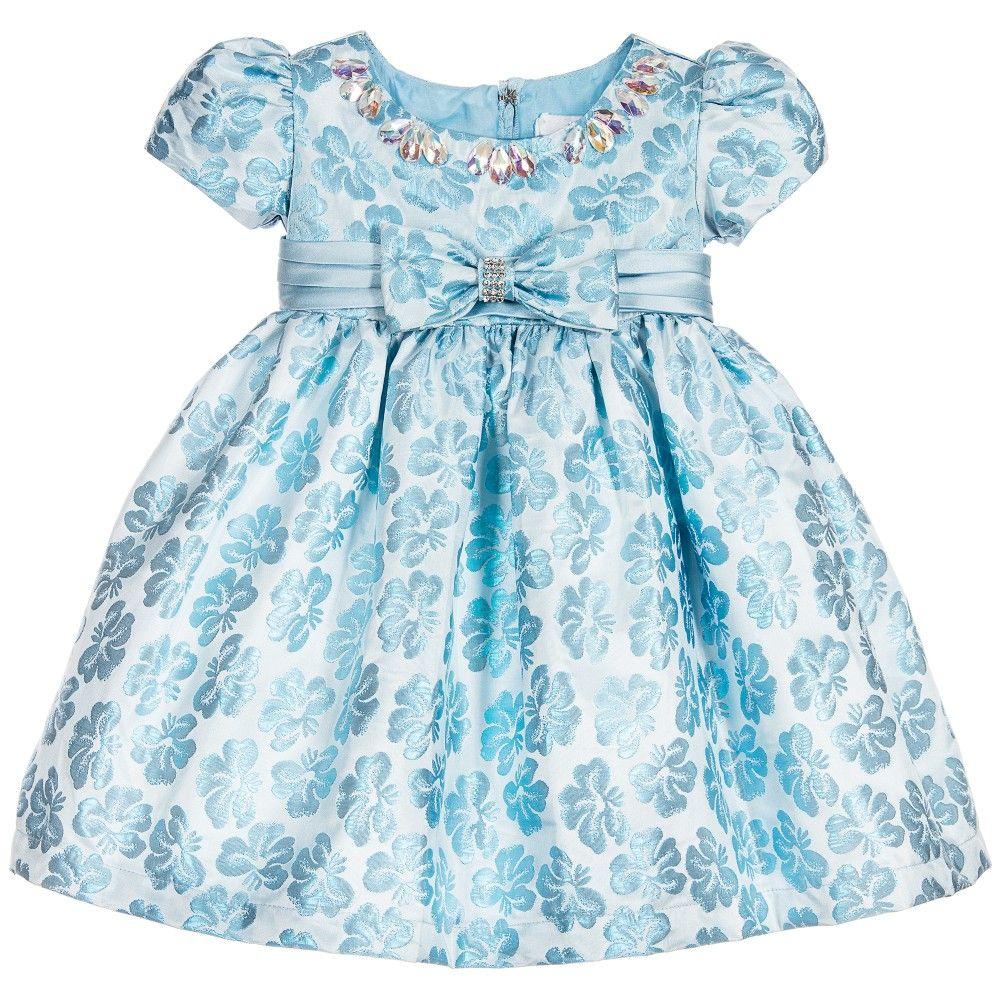 a079dd896ef11 Baby Girls Blue Brocade Dress with Diamanté
