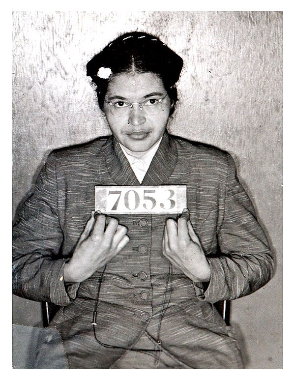 Civil rights pioneer Rosa Parks was photographed by Alabama cops following her February 1956 arrest during the Montgomery bus boycotts. The booking photo, taken when Parks was 43, was discovered in July 2004 by a deputy cleaning out a Montgomery County Sheriff's Department storage room.