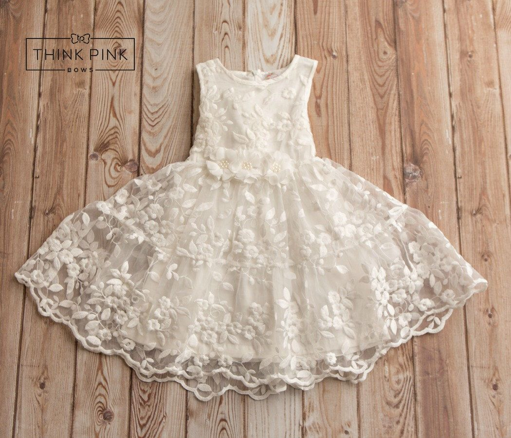 Off white lace flower girl dress