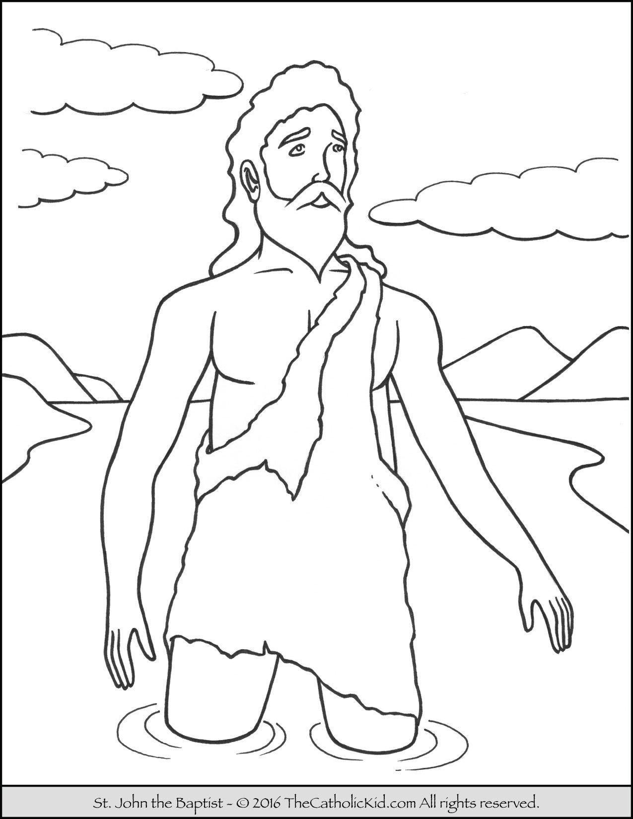 Saint John the Baptist Jordan River Coloring Page | Catholic Saints ...