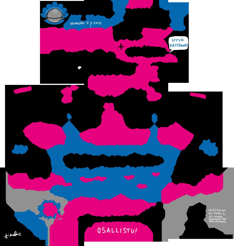 Tältä näyttää visualisointi 30 min puheesta, jossa käsiteltiin online-yhteisön kehitykstä ja asenneilmapiirin muutosta sitä mukaa kun yhteisön hyödyt huomataan. Änkyröistä yhteiseen oppimiseen ja kehittämiseen.  Kuvan tekijä: Linda Saukko-Rauta (redanredan.fi) ja kuvitus tehty Länsi-Suomen Helmet -hankkeen päätösseminaarissa 5.11. pitämästäni puheenvuorosta.