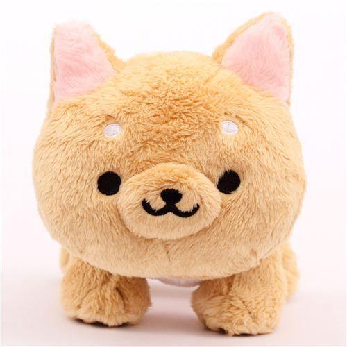 Cute Beige Iiwaken Dog Plush Toy With Collar Cute Stuffed