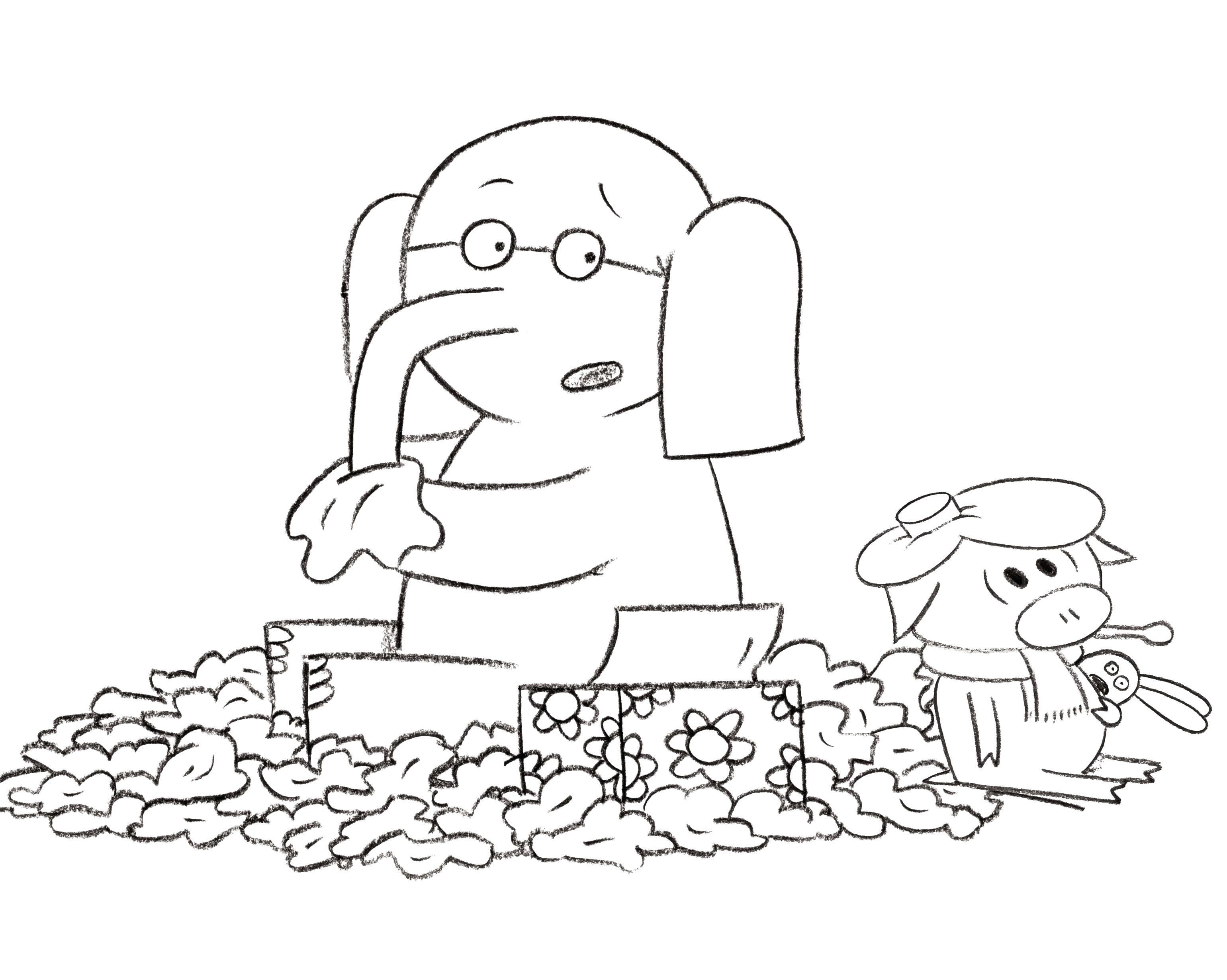 Elephant And Piggie Coloring Pages Free Elephant Coloring