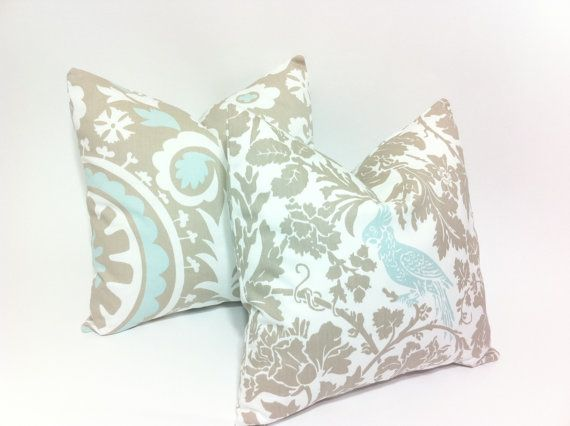 light blue and taupe decorative throw pillow covers by pillomatic 3600 - Blue Decorative Pillows