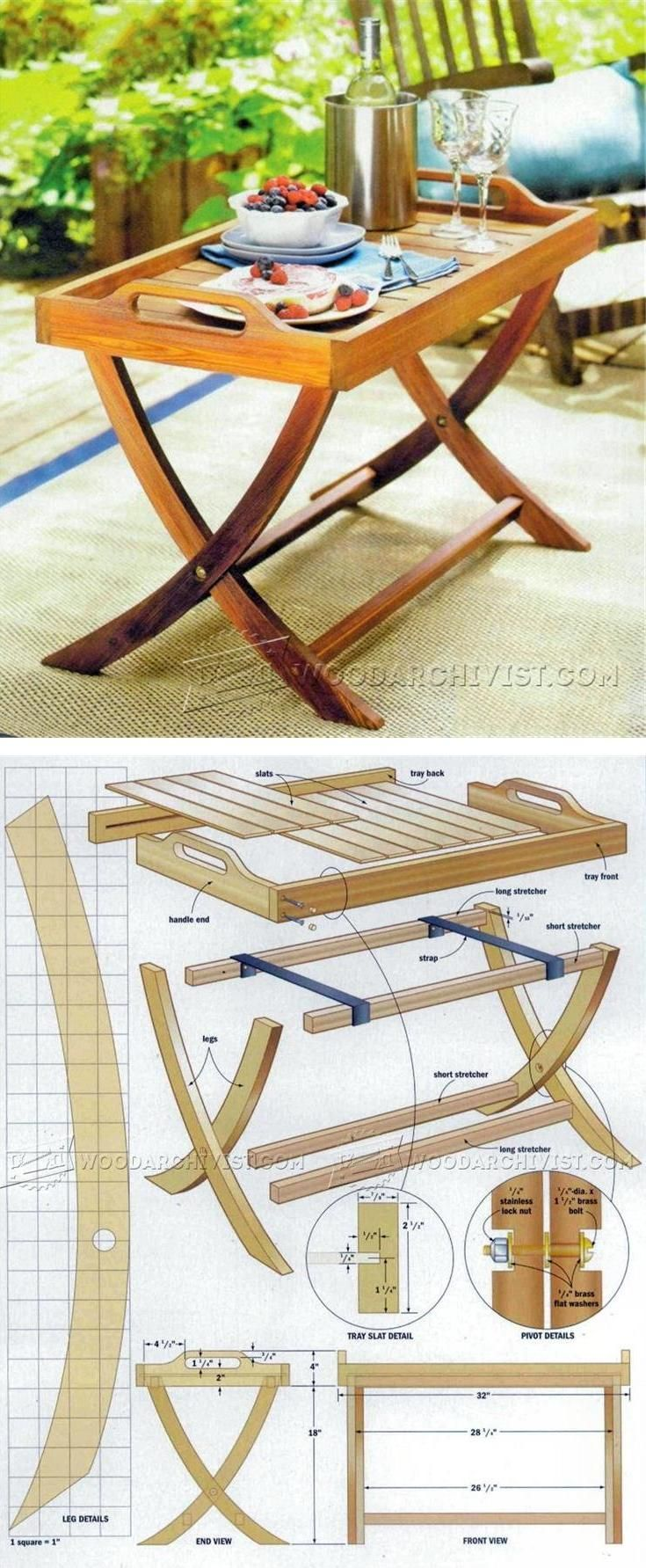 Folding Serving Tray Table Plans Outdoor Furniture Plans And  # Muebles Lixeiro