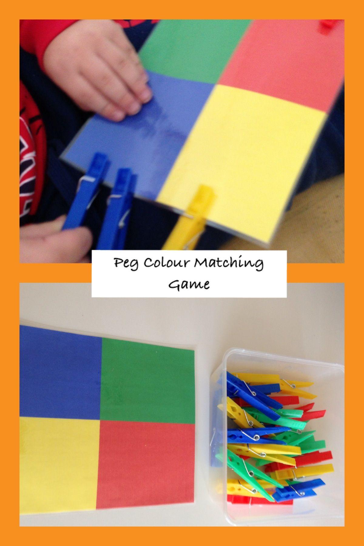 Children's Activity...Peg Colour Matching Game: perfect for fine motor skills, colour recognition  concentration development.