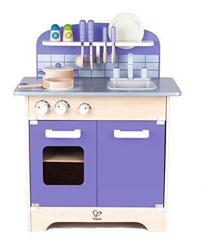 Purple Kitchen Playset Gourmet Deluxe Kids 13 Pc Wood Christmas Gift