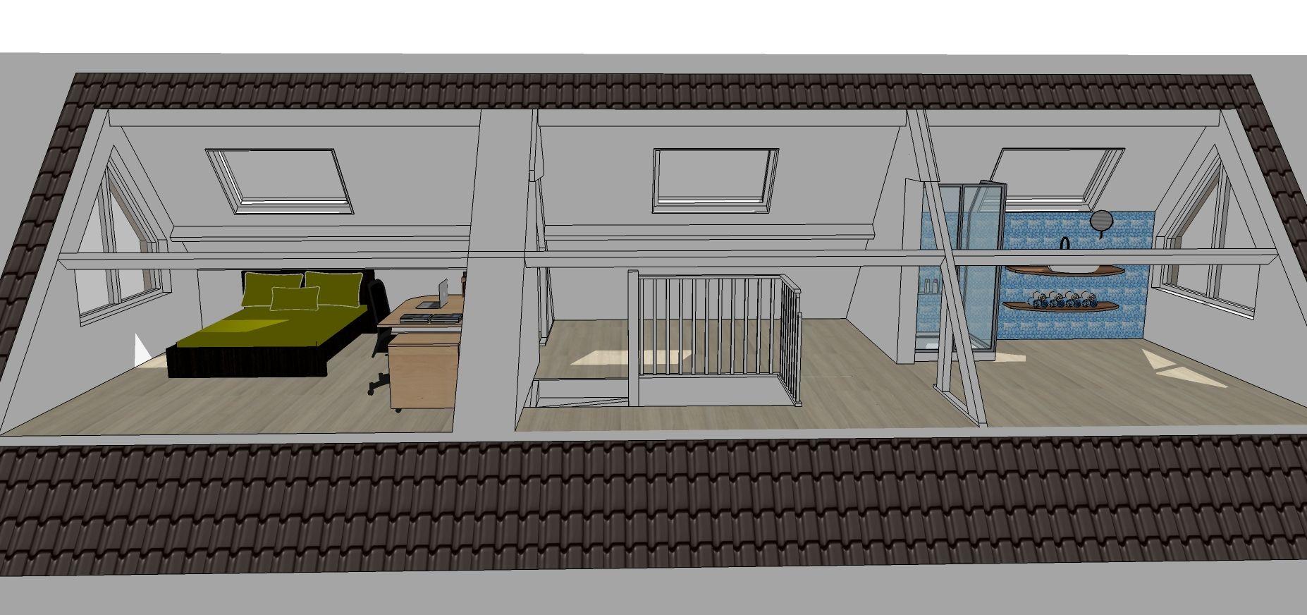 Interieurplannen nieuwe indeling zolder slaapkamer #plattegrond ...