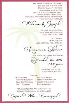 Pin by sharon metzgar wegener on hopeless romantic wedding planning honeymoon shower invite liking the wording this is a cool idea instead of a bridal shower filmwisefo Choice Image