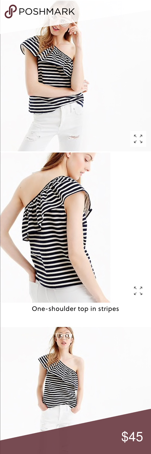 811674c6984 J. Crew one-shoulder top in stripes ruffle top J. Crew off the shoulder  ruffle top in stripes. Nautical top in stripes has asymmetrical ruffle  neckline.