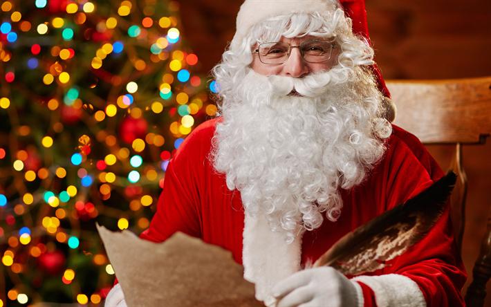 Download wallpapers Santa, 4k, letters, Christmas, glare
