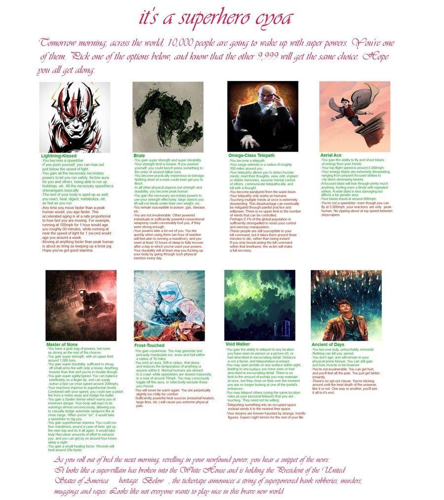 Superhero CYOA | cyoa | Cyoa, Create your own adventure, Superhero