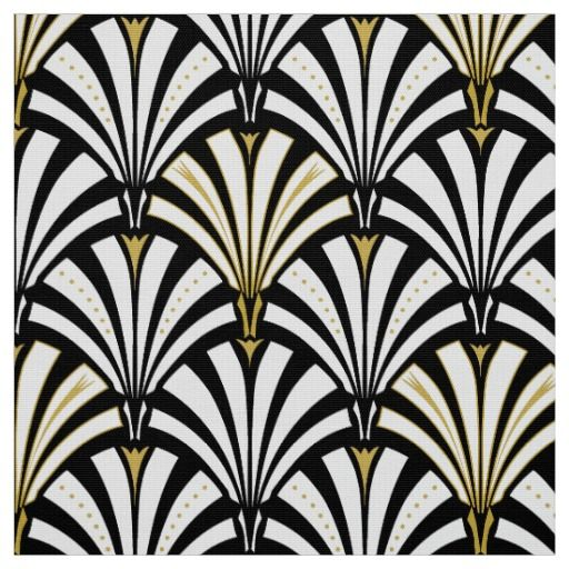 Art Deco fan pattern   black and white Fabric | Shorehouse Decor