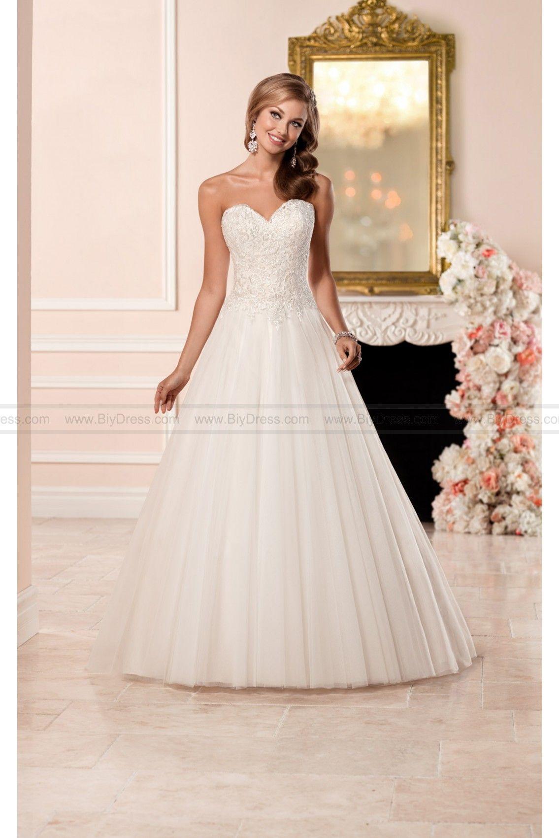 Stella york aline wedding dress with princess cut neckline style