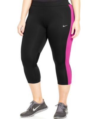 72be4a6a1b6 Nike Plus Size Colorblocked Cropped Leggings-Black  Pink
