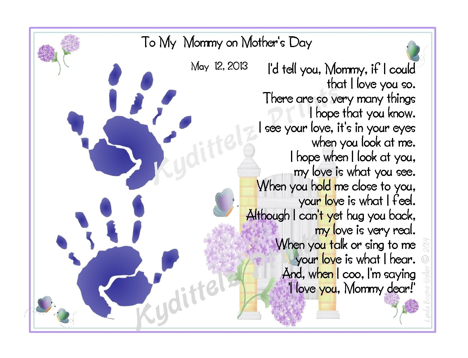 b9a7aae6a Babys Love to Mommy Poem Handprints 1st Mother s Day New Mother ...