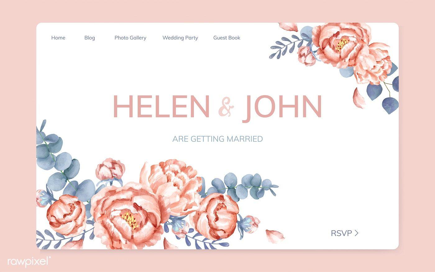 Premium Vector Of Fl Wedding Invitation Website