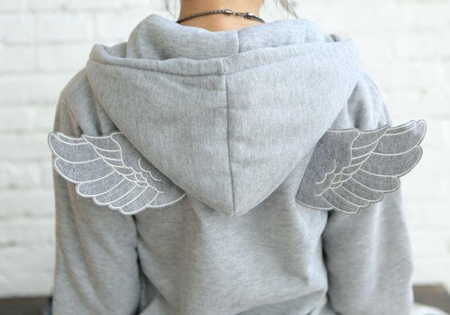 Korean Fashion Women Casual Wings Cute Hoodie Outerwear Jacket Sweat Coat