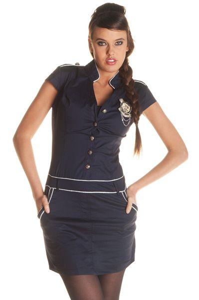 182636ef1d Robe fashion pour femme style marin boutonnée avec accessoire 10838 8.91 €  HT chez Grossiste-en-ligne.com. Service client gratuit au 0161308967.