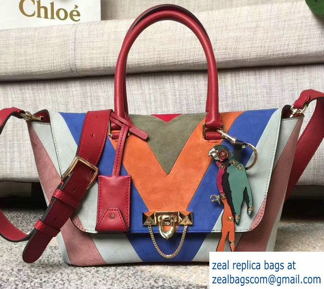 Valentino Multicolor Suede Demilune Double Handle Small Bag Red 2017