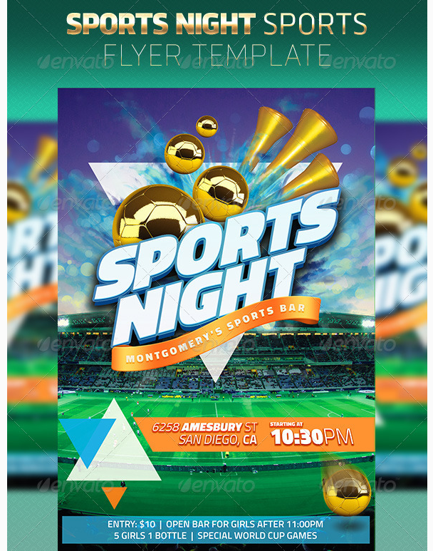 Soccer Night Sports Flyer Template Party Flyer Templates For Clubs