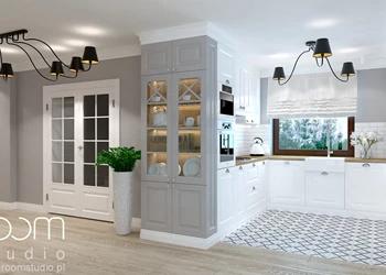 Dom jednorodzinny na Psim Polu, Wrocław - Średnia otwarta szara kuchnia w kształcie litery u, styl ... - zdjęcie od ROOM STUDIO
