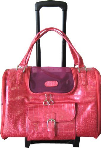 Pink Fashion Faux Crocodile Tote Shoulder Dog Cat Carrier On