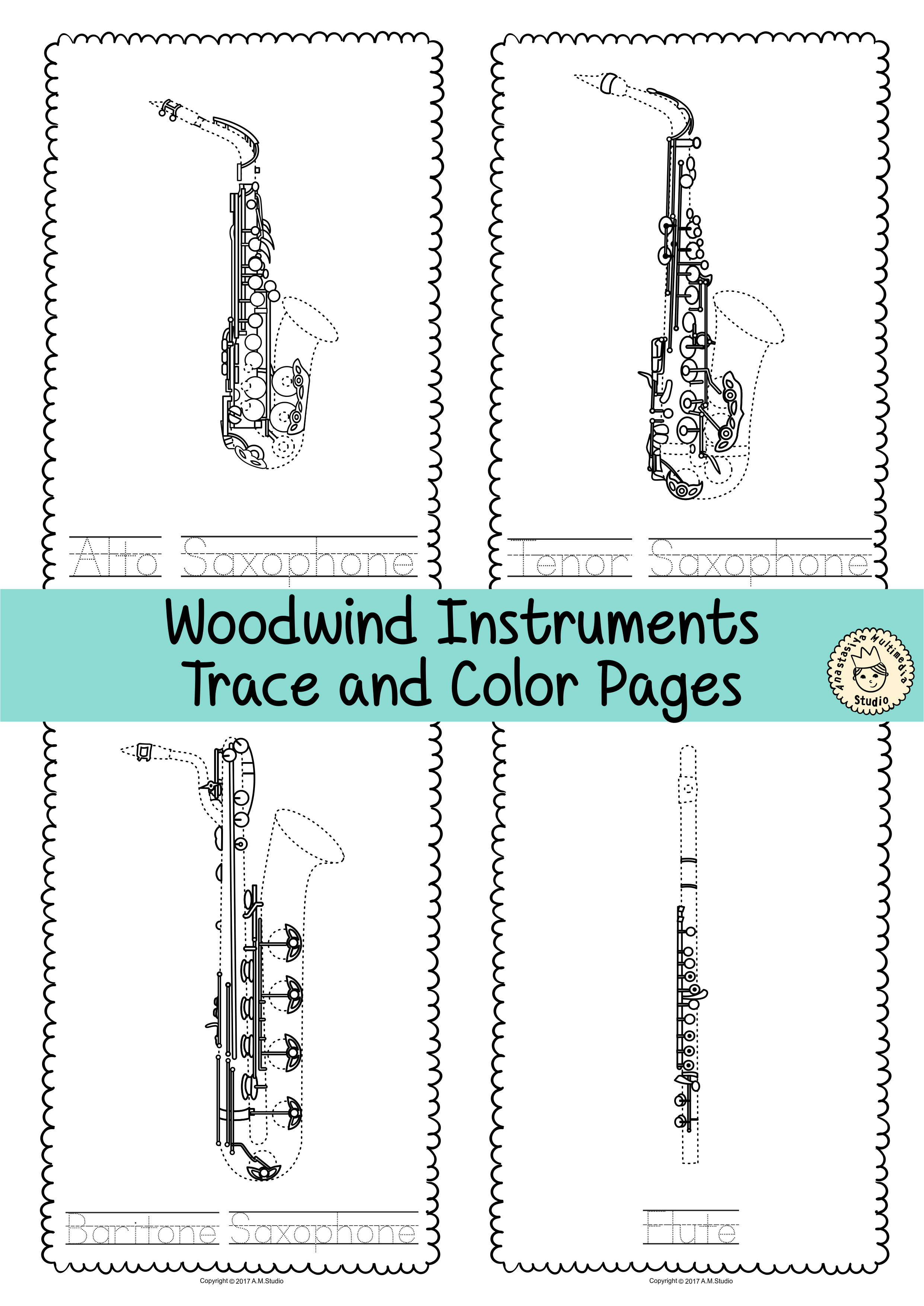 Woodwind Instrument Trace And Color Pages