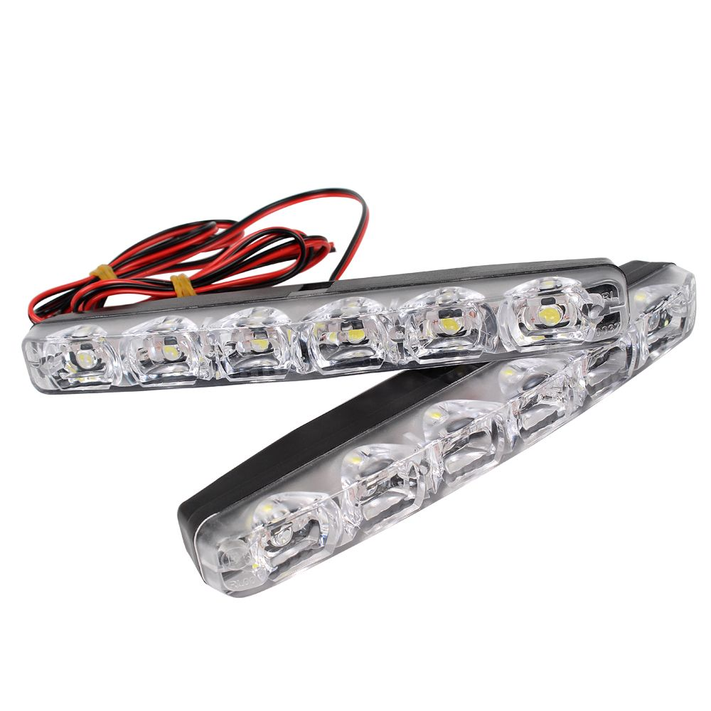 2 Pcs Led Car Luzes Diurnas Drl 6 Leds Dc 12 V 6000 K Fonte De Luz Automovel Carro Styling A Prova D Agua Running Lights Waterproof Car Car Accessories