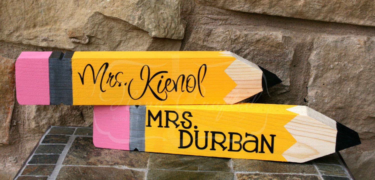 Wooden Pencil Deskname Plate Personalized Great By Handcraftedhc