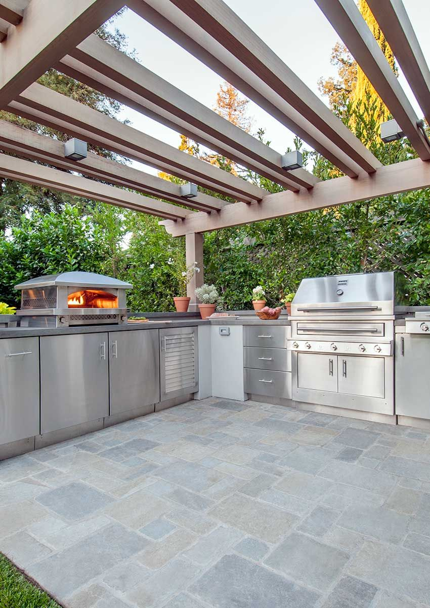 Outdoor Kitchen With Pizza Oven And Stainless Steel Built In Grill