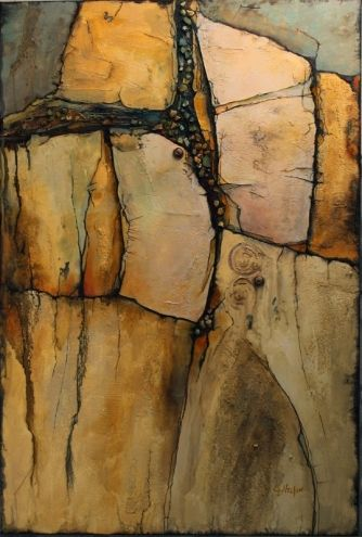 Wood rock mixed media geologic abstract painting carol for Landscaping rocks nelson