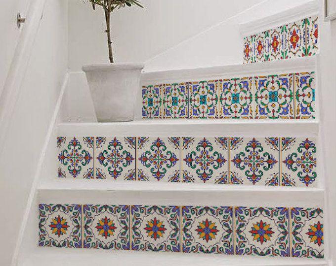 10 Schritt Treppe Riser Abziehbild Leuchtend Bunte Dekorative