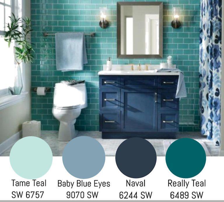 Teal Paint Colors In 2020 Teal Paint Colors Teal Bathroom Paint Blue Bathroom Decor
