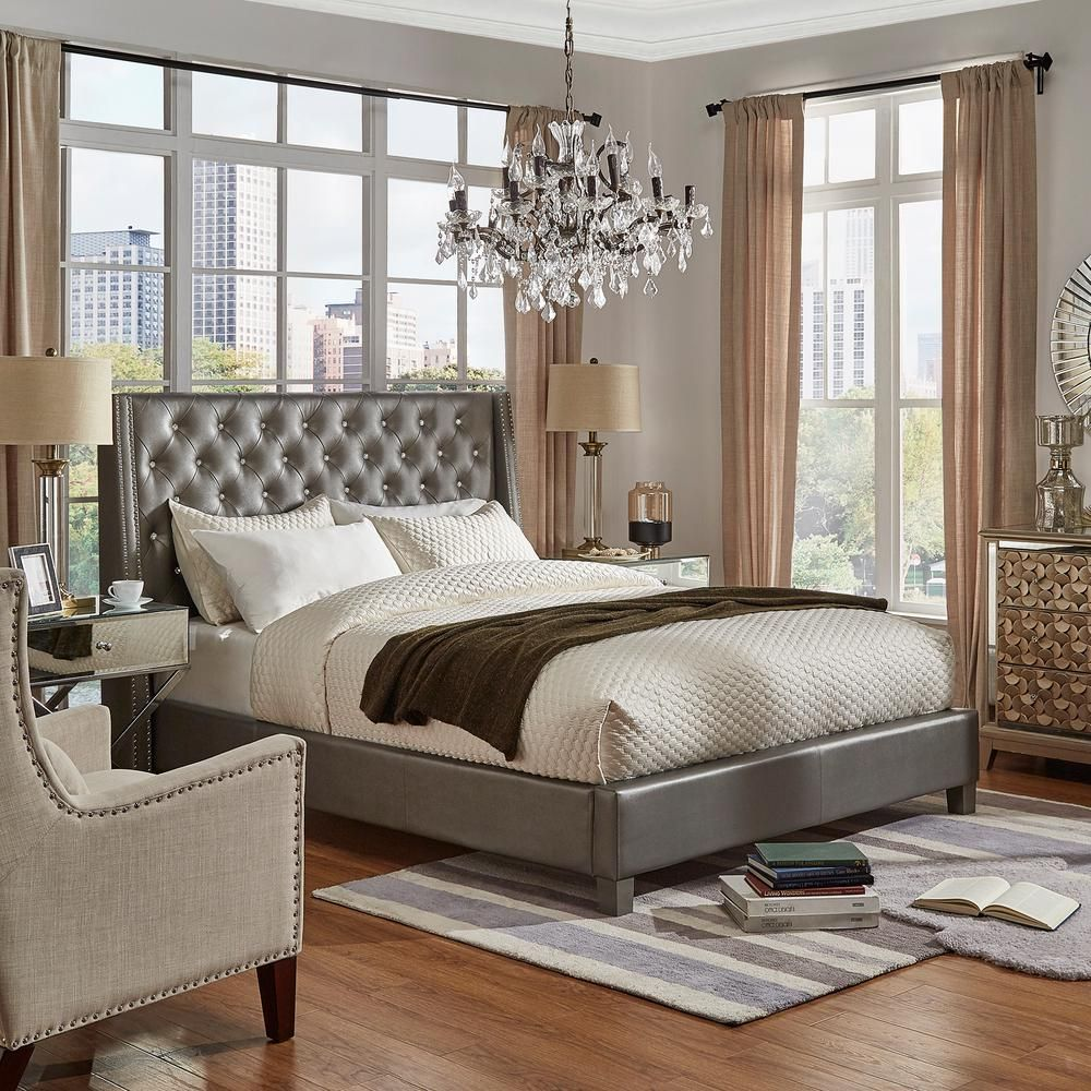 Homesullivan Venus Silver Metallic Full Standard Bed 40e300bf 1sgpub Silver Bedding Tufted Bed Wingback Bed