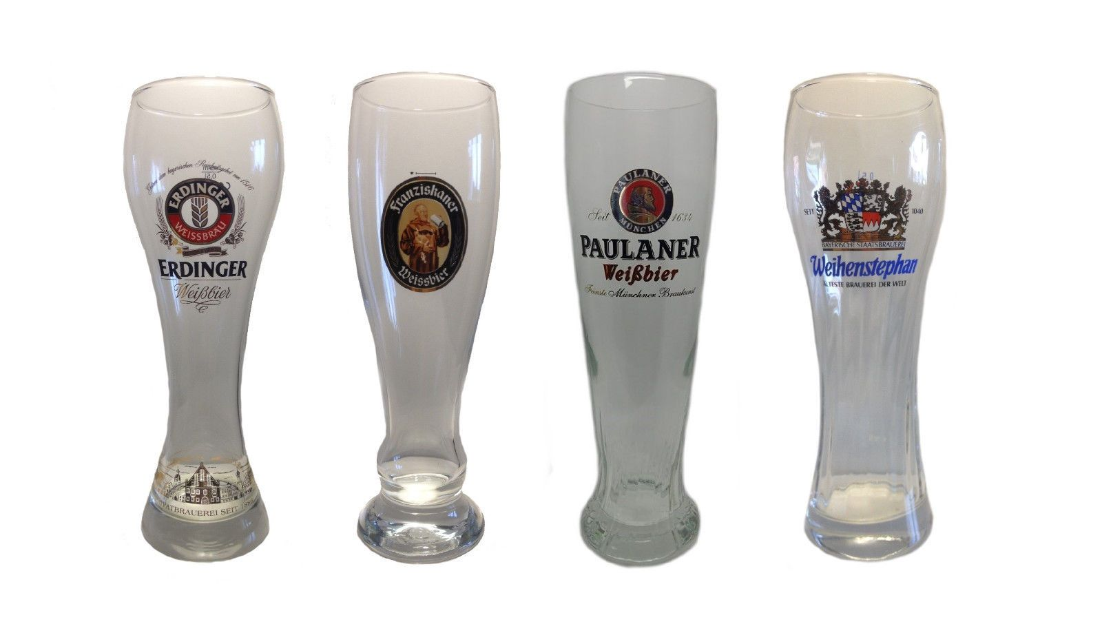 "NEW set of 3 Bavarian // German Beer Glasses 0.5 Liter /""Weissbier/"" Erdinger"