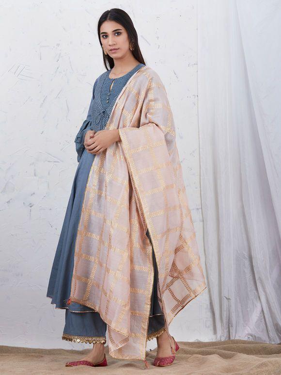 Ihram Kids For Sale Dubai: Greyish Blue Embroidered Cotton Kurta With Palazzo And
