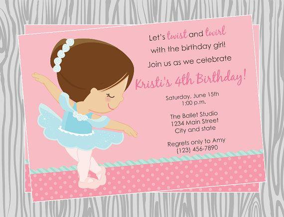 Diy Girl Ballerina Birthday Invitation 1 Coordinating Items
