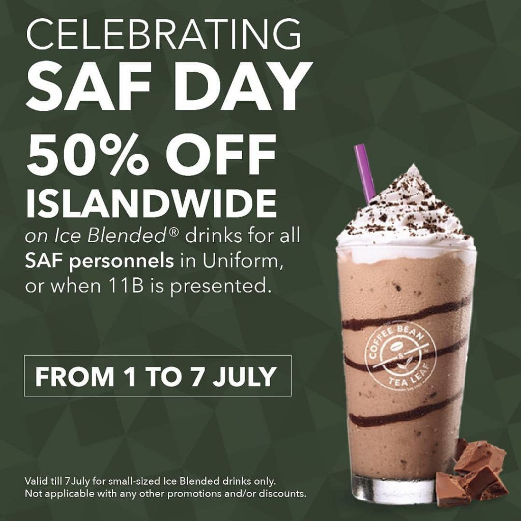 The Coffee Bean Tea Leaf Singapore Saf Day 50 Off Promotion 1 7 Jul 2019 Tea Leaves Coffee Beans Blended Drinks